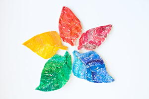 Watercolor Rainbow Salt Dough Leaves