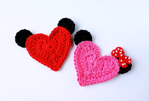 Mickey and Minnie Heart Appliques
