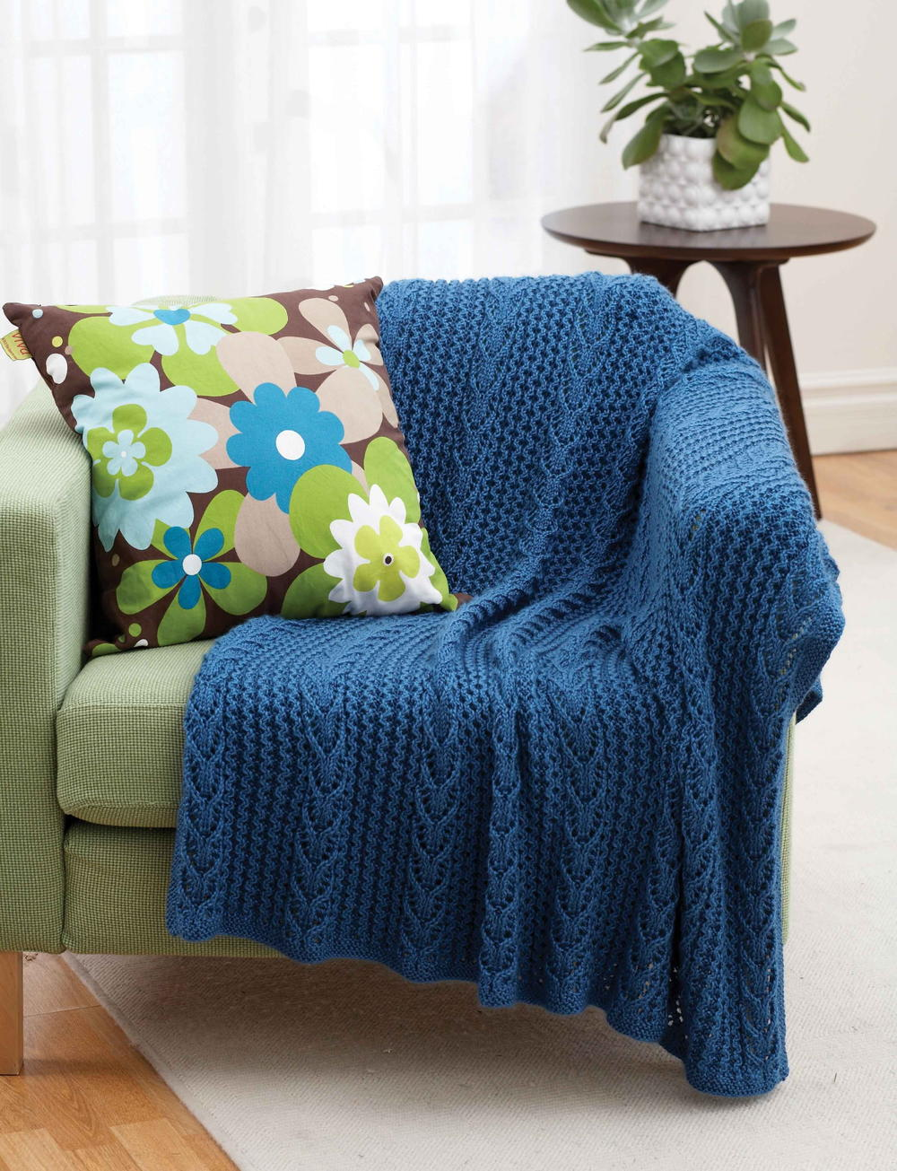 Blue Tide Lacy Throw Allfreeknitting Com