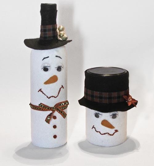 Festive Felt Snowman Jars
