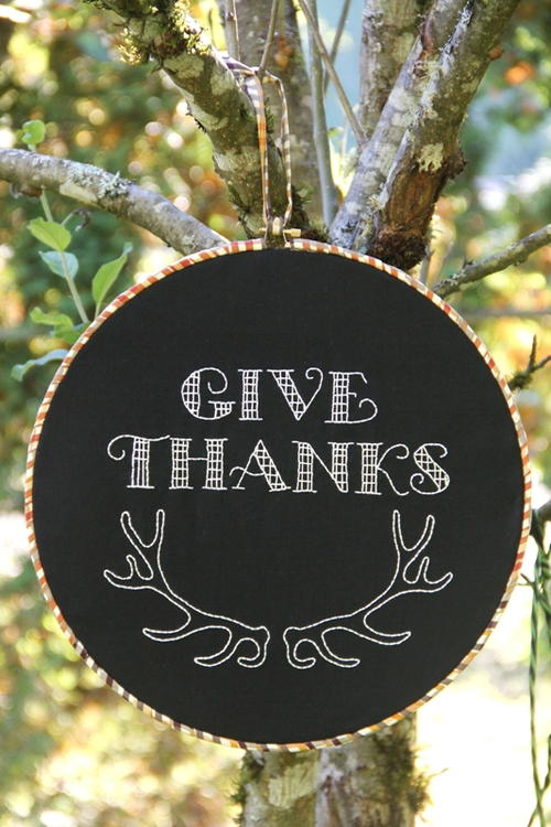 Give Thanks Faux Chalkboard Hoop Art