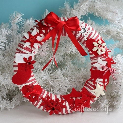 Red and White Fabric Wreath