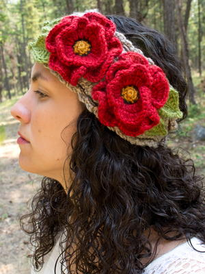 Basket-full Of Poppies Crochet Headband
