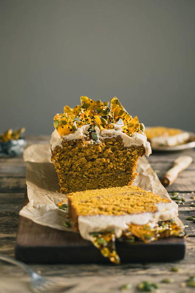 Pumpkin Bread with Cream Cheese Frosting & Pumpkin Seed Toffee