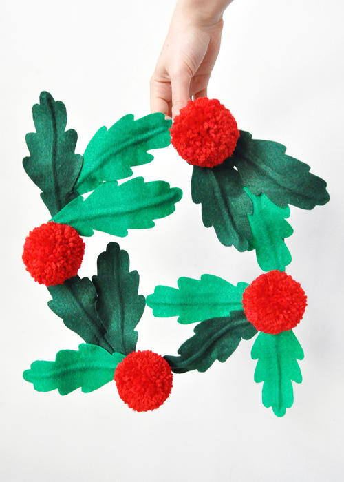 Felt and Pom-Pom Holly Wreath