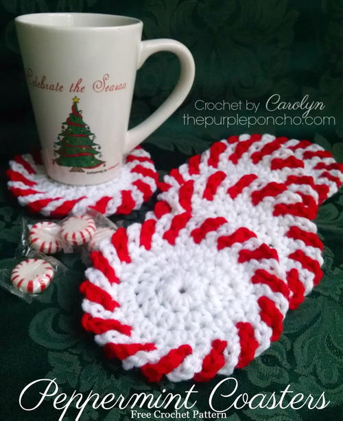 Peppermint Coasters Allfreecrochetcom