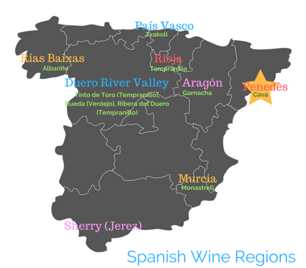 Map of Spanish wine regions