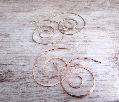 Wire Spiral Hoop Earrings