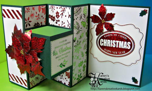 Foiled Fun Fold Christmas Card with Poinsettia