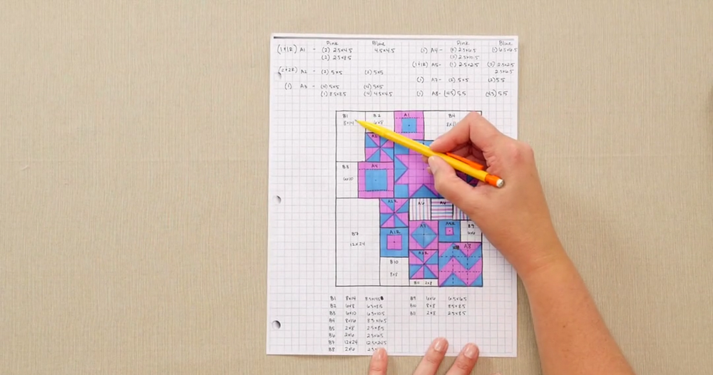 how to design a quilt on graph paper  video