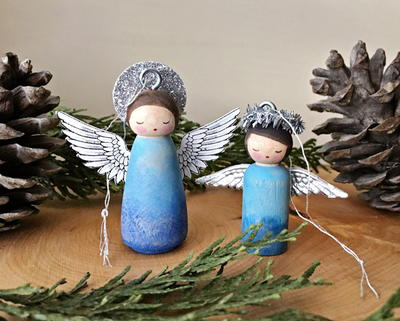Peg Doll Angel Homemade Ornaments