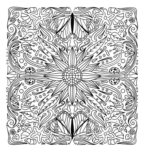 Sunflower and Butterflies Mandala Coloring Page ...