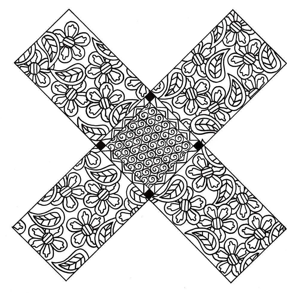 X Marks the Spot Zentangle Coloring Page | FaveCrafts.com X Marks The Spot Coloring Page