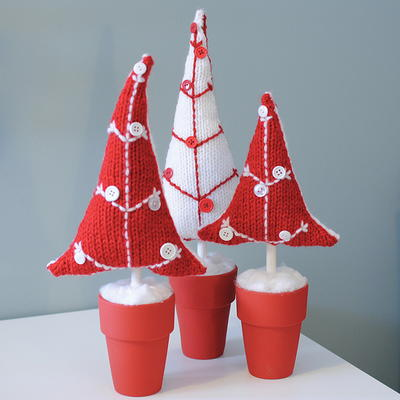 Easy Knit Potted Button Trees