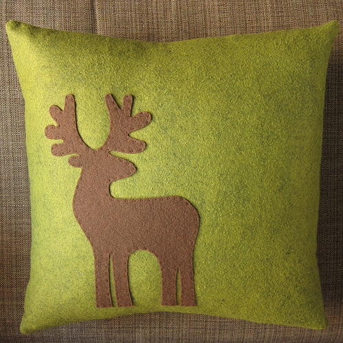 Festive Reindeer Applique Pillow