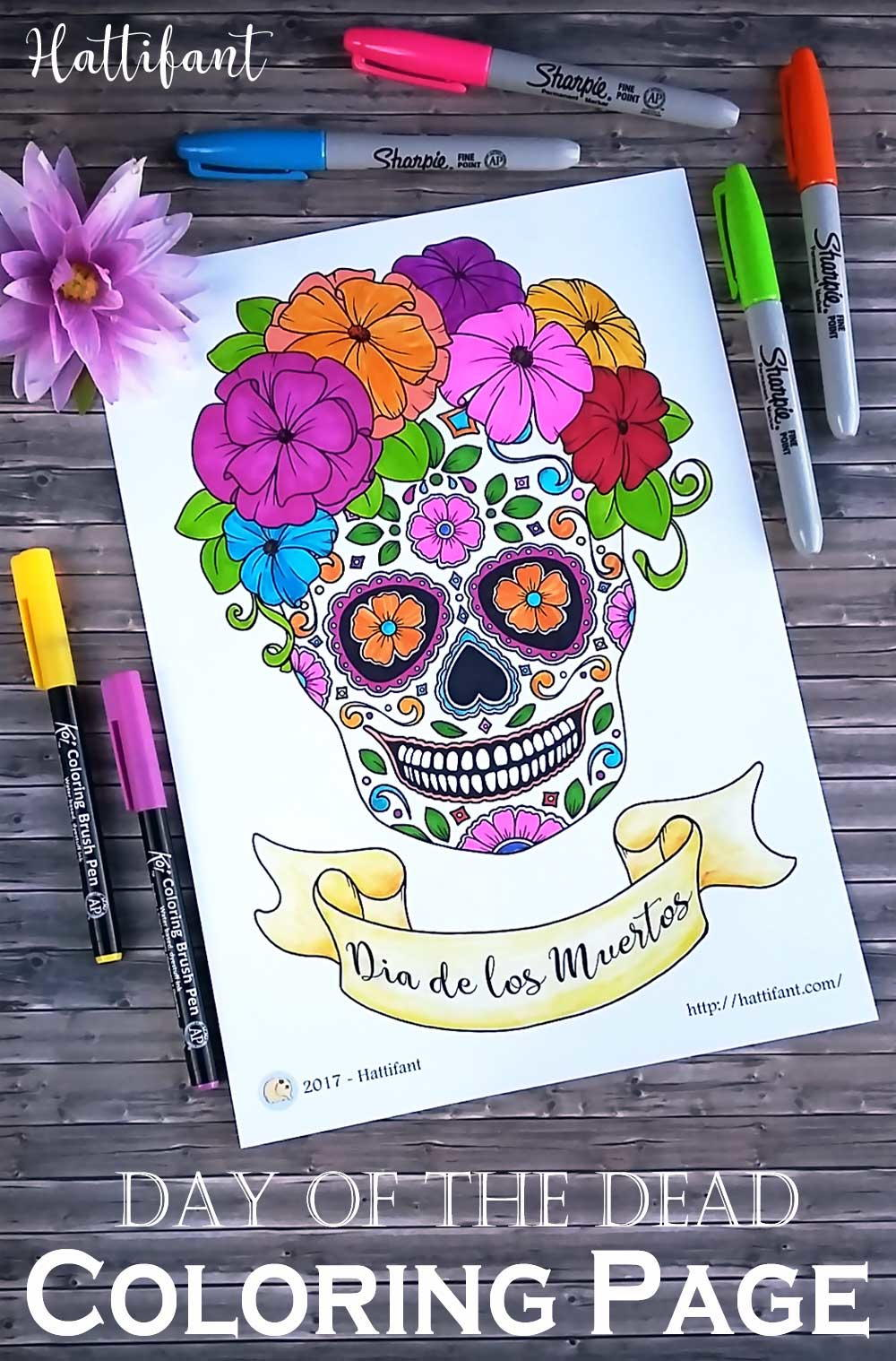 day of the dead sugar skull coloring page favecrafts com