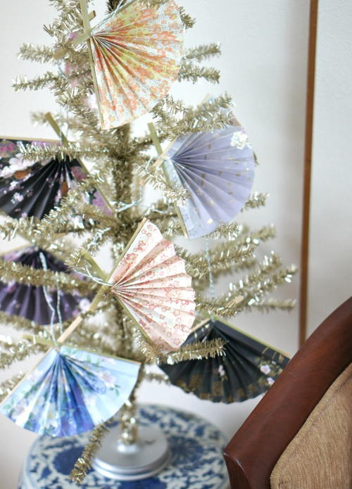 Vintage Paper Fan Homemade Ornaments