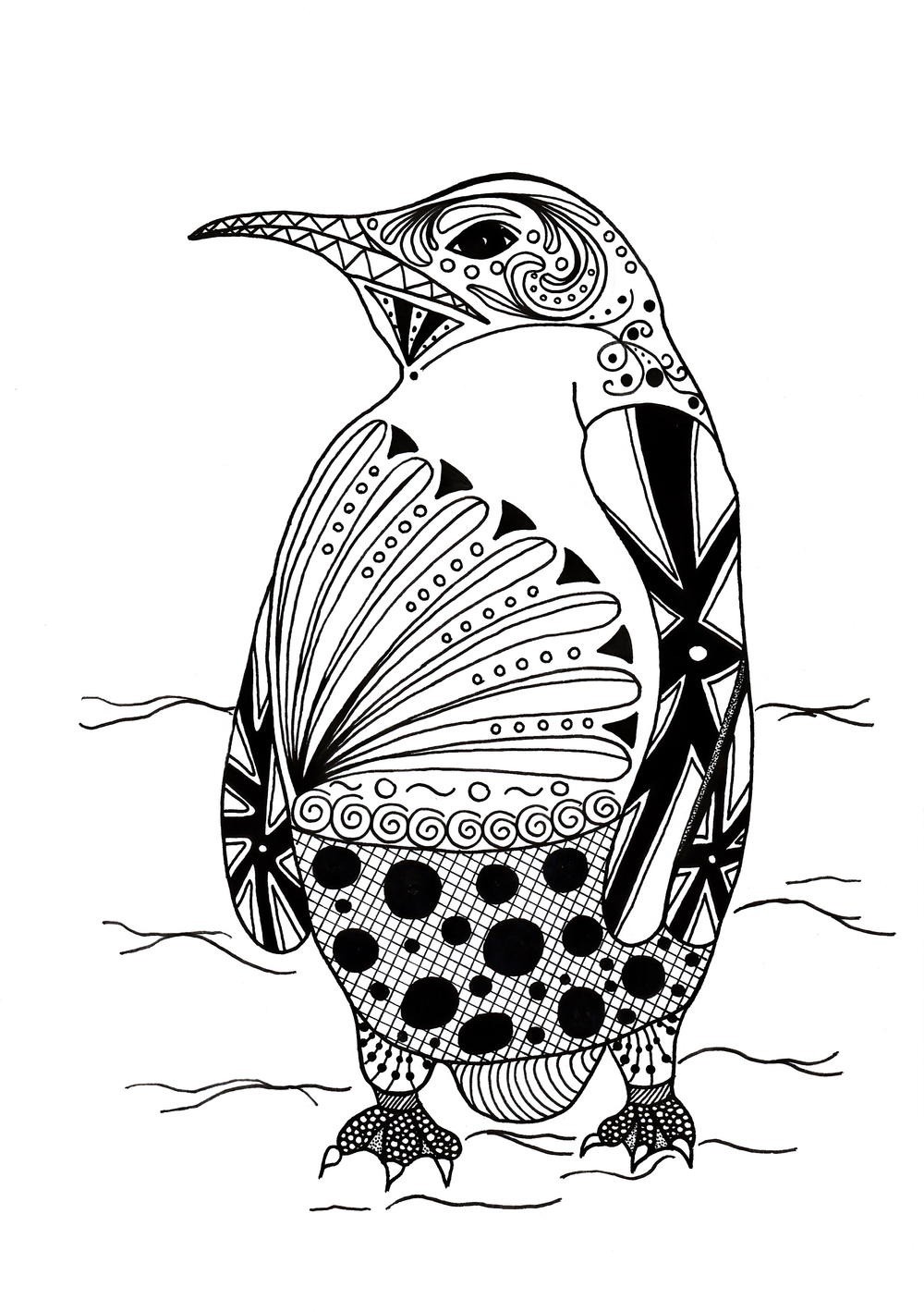 intricate penguin adult coloring page. Black Bedroom Furniture Sets. Home Design Ideas