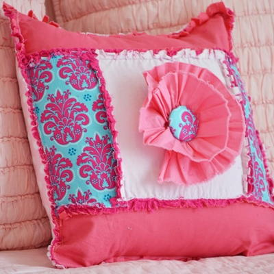 pretty in pink ruffle throw pillow