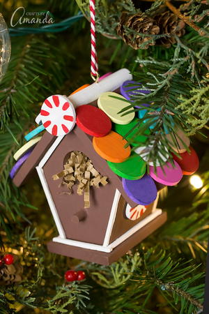 Colorful Gingerbread Birdhouse Ornament
