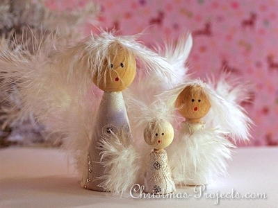 Romantic Wooden Peg Angels