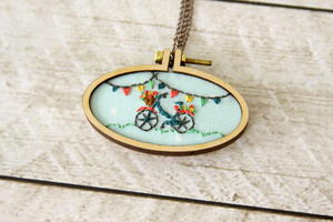Mini Bicycle Embroidery Hoop Necklace