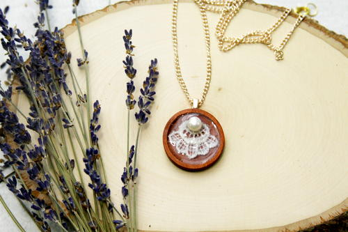 Wood and Lace Pendant Necklace