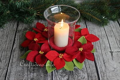 Felt Poinsettia Wreath Centerpiece