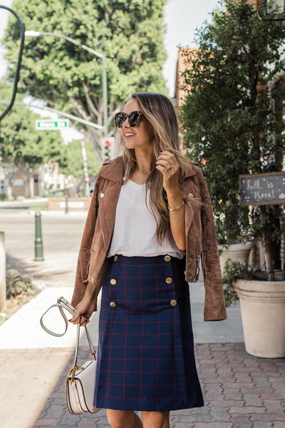 Classic Plaid Skirt with Gold Buttons