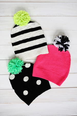 Stylish Refashioned Hats with Pom Poms