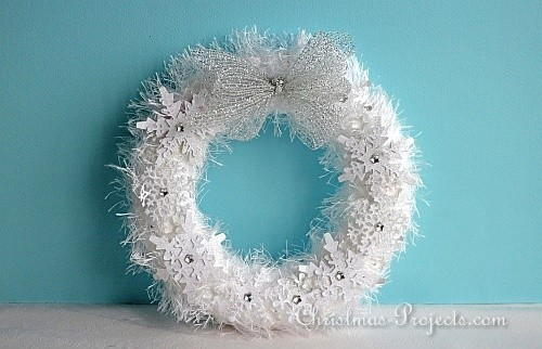 White Fuzzy Wreath with Snowflakes
