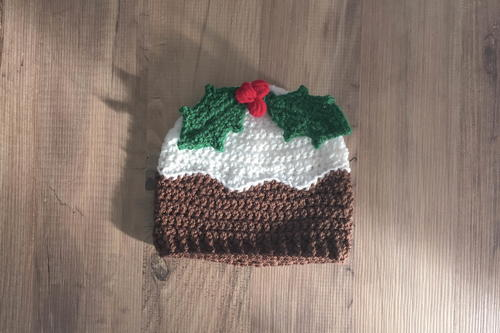 Christmas Pudding With Holly Hat