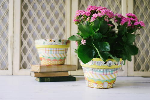 Decoupage Flower Pots with Scrapbook Paper