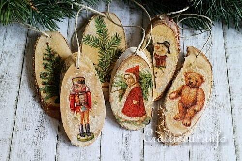 Vintage wood christmas ornaments for Vintage weihnachtsdeko