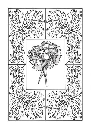 Carnation Mandala Adult Coloring Page