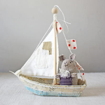 Boat Ornament with Stitched Sail