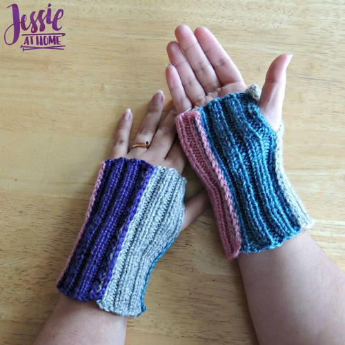 Stripey Fingerless Mitts