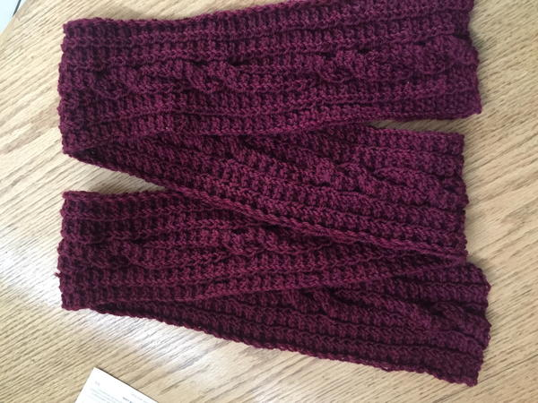 Reversible Ridged Garter and Cable Scarf