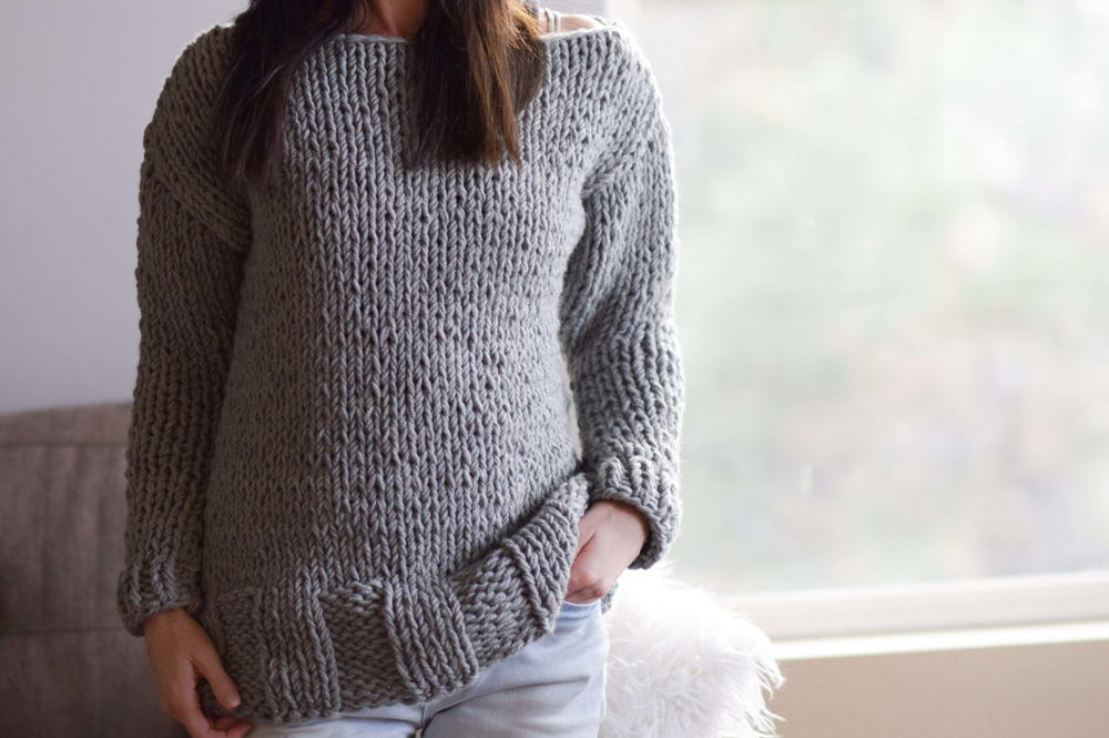 Knitting Jumpers For Beginners : Beginner chunky knit sweater pattern allfreeknitting