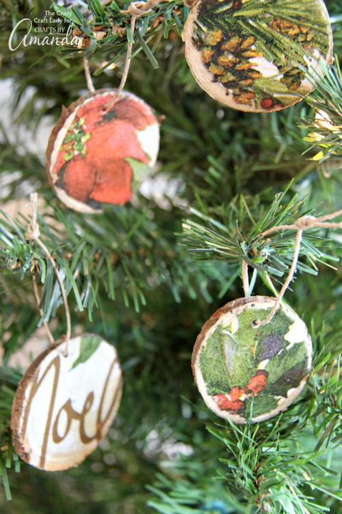 DIY Decoupage Wood Slice Ornaments