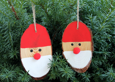 Santa DIY Wood Slice Ornaments