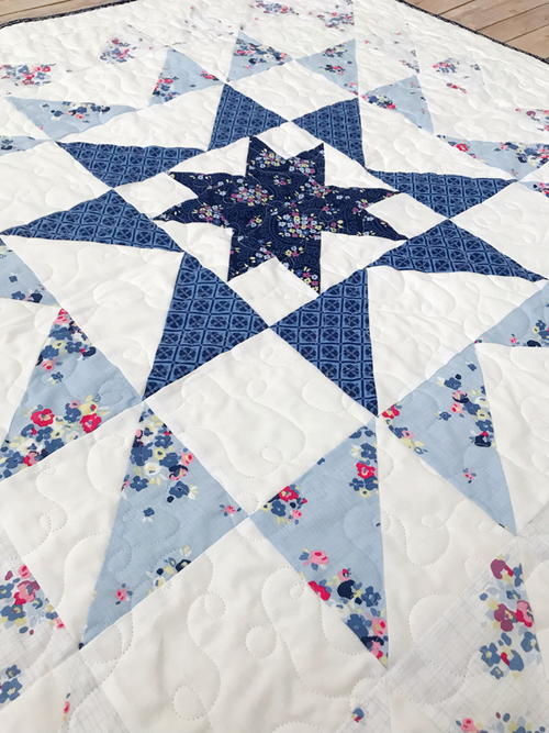 Blue Carolina Starburst Quilt Pattern