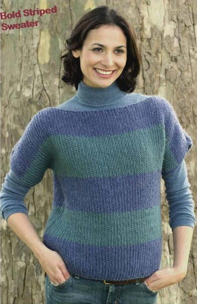 Boatneck Sweater In Bold Stripes Favecrafts Com