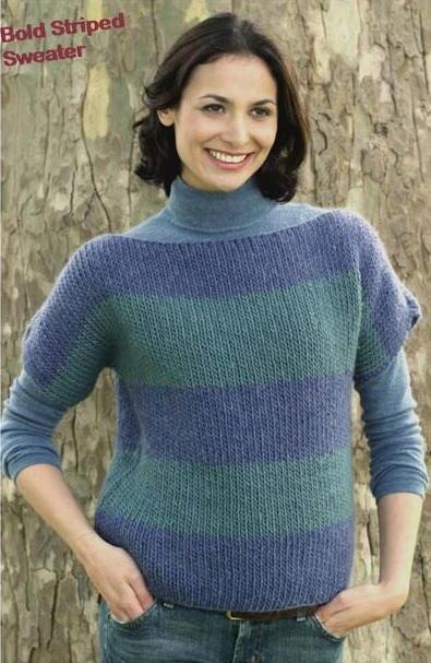 Boatneck Sweater In Bold Stripes Favecrafts Com