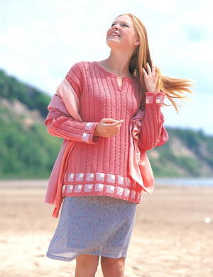 Ribbed Tunic with Miltered Squares