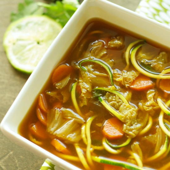 Miso Vegetable Zucchini-Noodle Soup