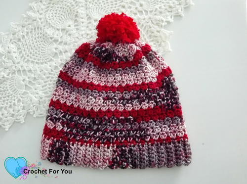 Winter's Cerise Crochet Slouch