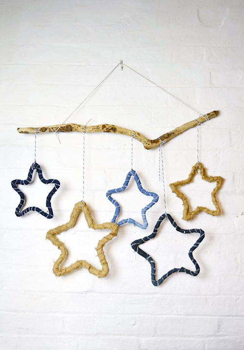 Recycled Denim Star DIY Christmas Decorations