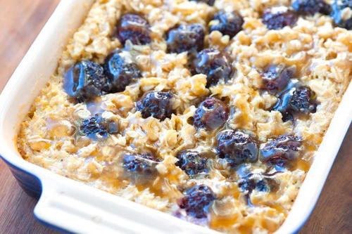 Blackberry Baked Oatmeal with Caramel Sauce