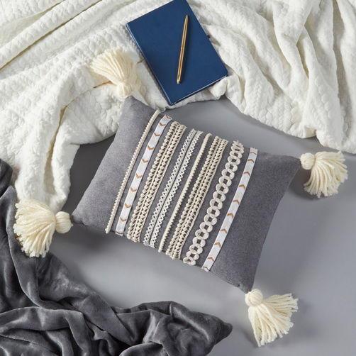 Tassel and Trim DIY Throw Pillow FaveCrafts com